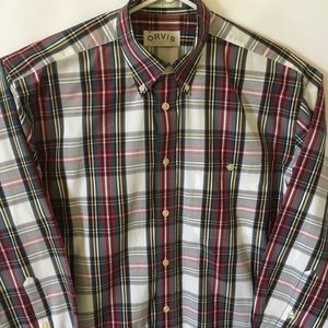 Orvis Plaid Long Sleeve Button Down Shirt Large